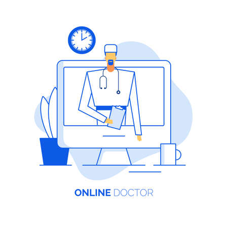 Online healthcare doctor surgeon medical consultation. Surgery specialist holding patient card on computer monitor give advice treatment prescription. Remote appointment. Clinic communication service Ilustracja