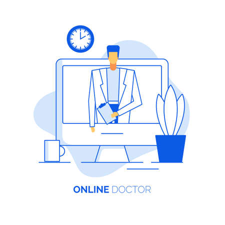 Telemedicine, medical insurance. Remote primary examination, diagnosis, treatment, medication prescription. Man doctor practitioner cardiologist in uniform give online healthcare consultation