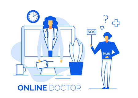 Healthcare, telemedicine. Computer internet service for remote appointment. Doctor practitioner therapist gastroenterologist give online consultation to sick patient having terrible stomach pain Ilustrace