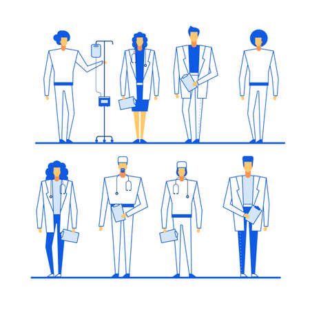 Professional medical staff character group set. Doctor, nurse. Therapist, surgeon, practitioner, gynecologist, cardiologist, gastroenterologist Man woman wearing uniform laboratory assistant Ilustracja