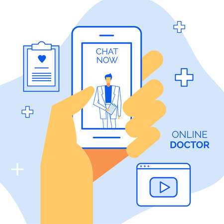 Online doctor mobile application for remote consultation, emergency help, patient support. Round-the-clock medical service. Human hand hold smartphone. Open medicine chat on screen. Digital clinic Ilustrace