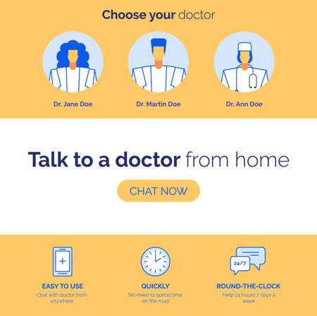 Online healthcare service advantage. Remote doctor consultation. Choose practitioner, easy to use chat application, quickly round-the-clock advising presentation. Telemedicine. Advertisement webpage