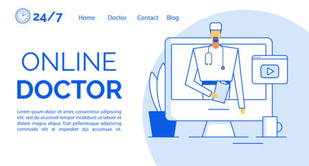 Online medical consultation assistance landing page. Doctor giving information prescription treatment recommendation on computer monitor screen design template. Video player. Remote clinic service