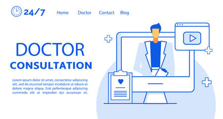 Doctor consultation online service landing page. Patient account on computer personal data clipboard for diagnosis. Specialist on monitor screen consulting client. Healthcare, telemedicine. Video call