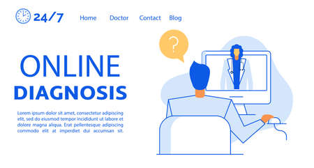 Online diagnosis service landing page. Man asking question. Doctor on computer monitor screen giving answer determining disease advising medication for treatment. Medical assistance by internet