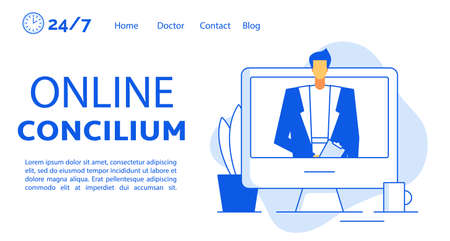 Online doctor concilium video call conference technology network connection. Medical staff collaboration international communication disease treatment share medic knowledge. Landing page design Ilustracja