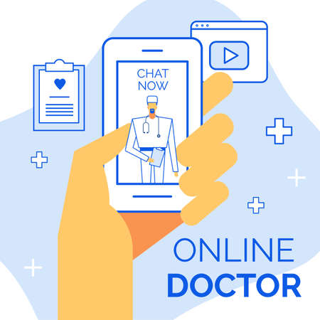 Healthcare, internet, communication advertisement. Human hand holding smartphone. Open chat application on screen. Doctor surgeon consulting patient. Video medical conference. Digital insurance card
