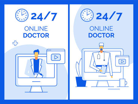 Day-and-night medical consultation service virtual doctor visit from home office. Remote examination, diagnosis, treatment. Specialist talking from computer screen. Telemedicine, healthcare, insurance