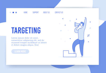 Targeting strategy advertising business landing page. Digital marketing, promotion campaign on target audience attraction. Man shouting in megaphone loudspeaker. Build successful aim advertisement