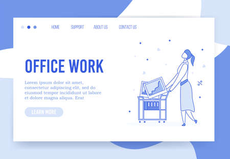 Office work organization optimization effective time management landing page. Entrepreneur woman carry trolley cart filled data statistic project analysis result financial report. Successful business