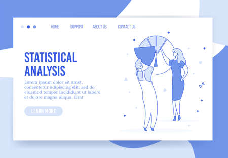 Professional statistical analysis accounting landing page. People team analyzing business profit investment income money earning increase stock market work optimization. Management marketing consult