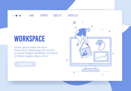 Virtual office workspace organization landing page. Business platforms, digital service for collecting financial data analytic statistics. Tiny employee sit on monitor display finance report in charts