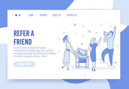 Refer friend. Referral digital marketing strategy for business development sales growth. Influencer shouting in megaphone. Social media network promotion technology. Landing page mockup design