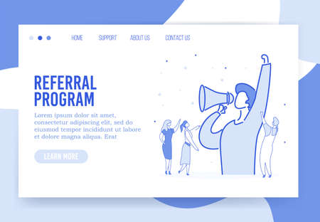 Referral program promotional loyalty strategy, digital business advertising, affiliate marketing landing web page. Influencer shouting in loudspeaker megaphone attracting customer, follower, user