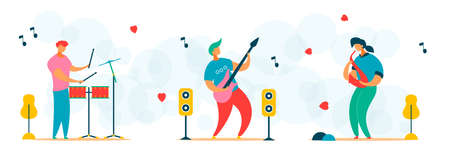 Cartoon flat characters set for music festival concept
