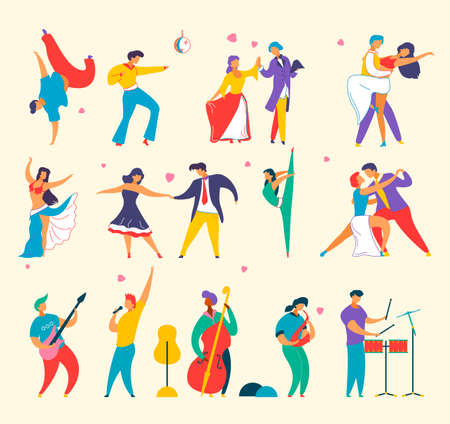 Flat cartoon characters people dancing, playing music