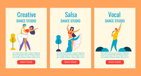 Dancing flat cartoon characters Web banner stories set