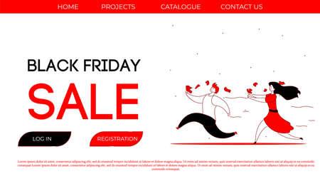 Modern cartoon flat character customer,Black Friday sales concept