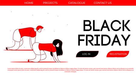 Modern cartoon flat characters customers Black Friday sales concept 向量圖像