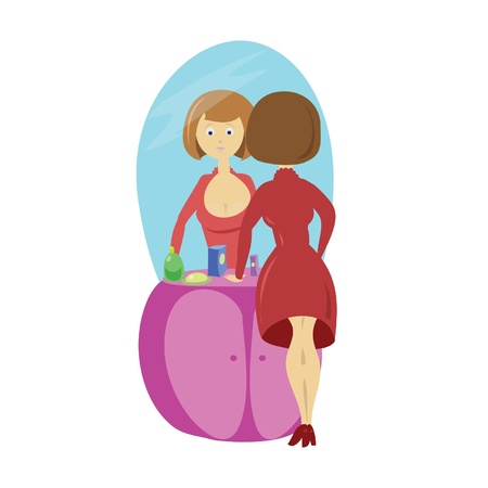 frenchwoman: Girl and mirror Illustration