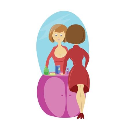 dissatisfaction: Girl and mirror Illustration
