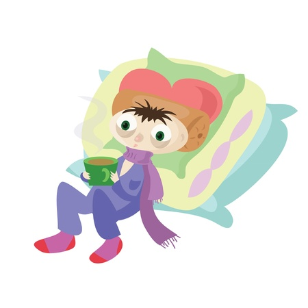 Sick Boy is drinking tea and lying on the pillows Stock Vector - 20674866