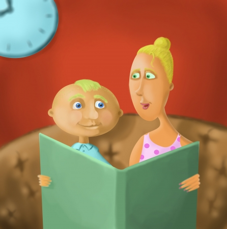 parental love: Mum reads the book to his son Stock Photo