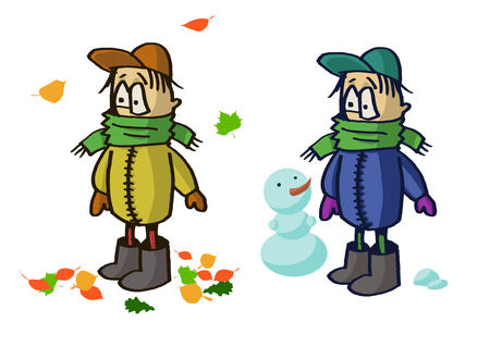 warm clothes: The child in warm clothes Stock Photo