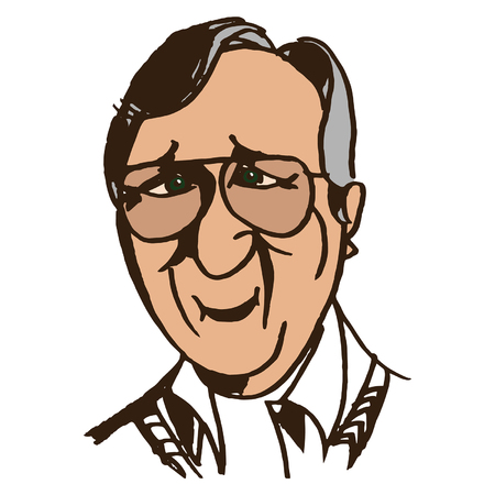 yearning: Portrait of a good old man with sad eyes in glasses. Illustration