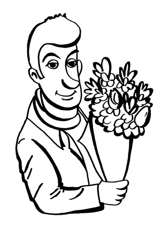 on looker: Man holding a bouquet of flowers