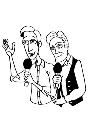 leading: The two leading men with microphones