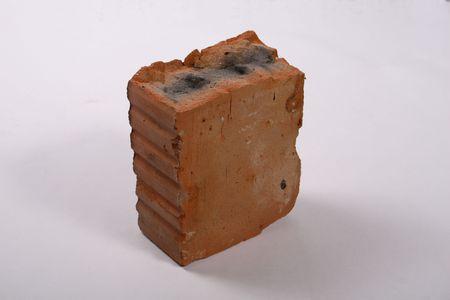 broken burn red brick on white isolated  Stock Photo - 1832537