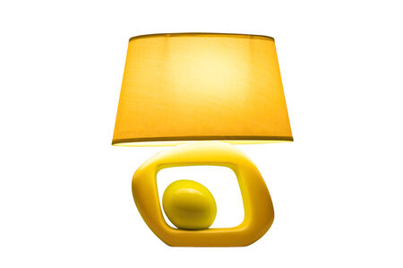 lampshade: bedroom yellow lampshade design Stock Photo