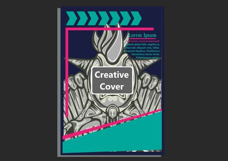 creative display layouts design with Mask as modeling and using pop art coloring Vettoriali