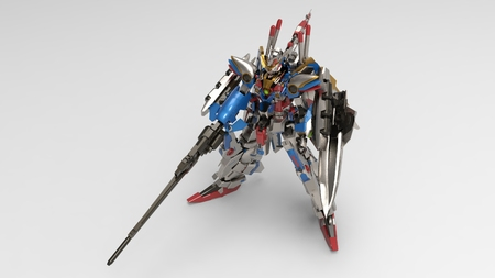 3d rendering of a mech standing on a white background