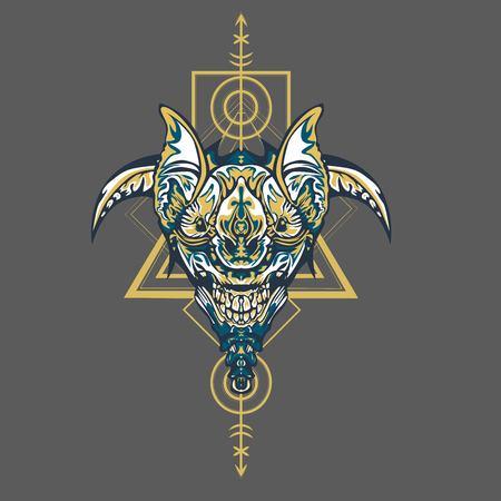 Vector illustration. robot sacred geometry. For t-shirt design, poster, sticker. Line Style. - Vector