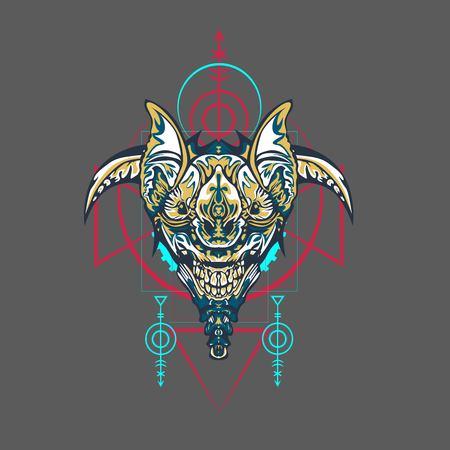 Vector illustration. robot sacred geometry. For t-shirt design, poster, sticker. Line Style. - Vector Illustration