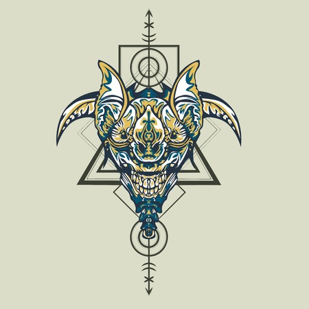 Vector illustration. robot sacred geometry. For t-shirt design, poster, sticker. Line Style. - Vector Ilustrace