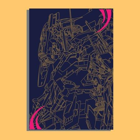 Vector illustration. robot sacred geometry. robot mock-up isolated design. For t-shirt design, poster, sticker. Line Style. - Vector