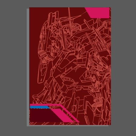 Vector illustration. robot sacred geometry. robot mock-up isolated design. For t-shirt design, poster, sticker. Line Style. - Vector 矢量图片