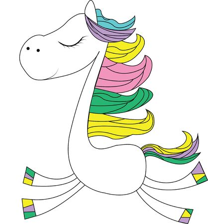 Content horse with colored rainbow mane