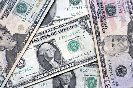 various US dollar bills Stock Photo