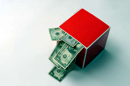 red box with money Stock Photo
