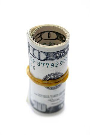 dollar bills rolled