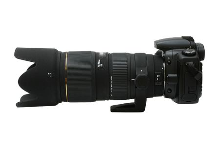 digital SLR camera with telephoto lens Stock Photo