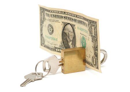 Pojęcie zablokowane pieniądze Zdjęcie Seryjne