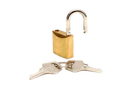 lock and two keys, unlocked Stock Photo
