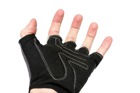 palm wearing a protective glove, white background Stock Photo - 404611
