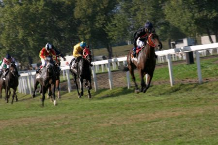 race horses during a track day, intentional blur Stock Photo - 592715