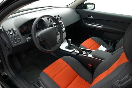 driving conditions: interior of modern european car, stylish colors